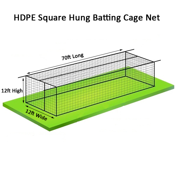 HDPE Baseball Batting Cage Nets 70ft x 12ft x 12ft