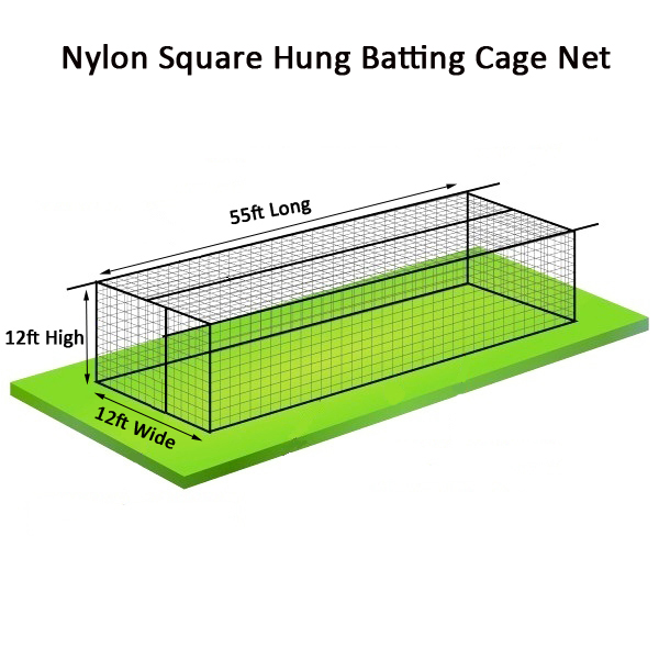 Nylon Baseball Batting Cage Nets 55ft x 12ft x 12ft